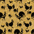 Black Roosters on a golden. Royalty Free Stock Photo