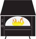 Black rustic fireplace with fire isolated on a white background Royalty Free Stock Photo