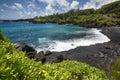 Black sand beach,Waianapanapa state park. Maui, Hawaii Royalty Free Stock Photo