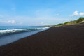 Black sand volcanic beach bali indonesia Royalty Free Stock Photos