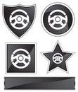 Black Satin - Steering Wheel Royalty Free Stock Photo