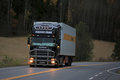Black Scania Refrigerator Truck on the Road Royalty Free Stock Photo