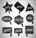 Black scribble chat bubbles different shapes Royalty Free Stock Photography