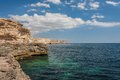 Black sea coast on tarkhankut crimea ukraine located Royalty Free Stock Image