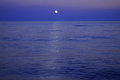 Black sea in the evening with lunar path Royalty Free Stock Photo
