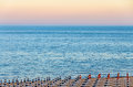The Black Sea shore from Albena, Bulgaria with golden sands Royalty Free Stock Photo