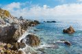Black sea wild water scape crimean shore Stock Images