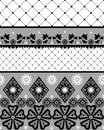 Black seamless lace pattern with fishnet on white background Stock Images