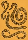 Hand drawn picture of patterned snakes. Royalty Free Stock Photo