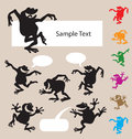 Black shadow frog dancing with blank speech bubbles smooth and detail vector silhouettes easy to change color Stock Photos