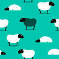 Black sheep amongst white sheep tile background Royalty Free Stock Photography