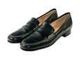 Black shoes leather loafers with white stitching Royalty Free Stock Image