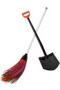 Black shovel and plastic broom Stock Photography