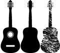 Black silhouette acoustic guitar Royalty Free Stock Photography