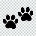 Black silhouette animal paw track. Vector illustration
