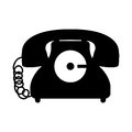 black silhouette antique phone icon with cord Royalty Free Stock Photo