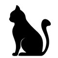 Black silhouette of cat illustration sitting Royalty Free Stock Photo