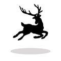 Black silhouette Christmas Reindeer white background Royalty Free Stock Photo