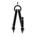 Black silhouette compass with pencil