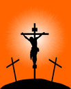 Black silhouette of a crucifix on the orange background Stock Image