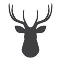 Black silhouette of deer`s head on a white background. Vector illustration