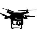 Black silhouette drone quadrocopter, vector illustration
