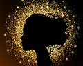 The black silhouette of a girl on a gold background, sand, crumbly texture foil. The bright design of a beauty salon