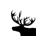 Black silhouette head Christmas Reindeer white background Royalty Free Stock Photo
