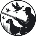 Black silhouette of a hunter, with a dog, Duck hunting Royalty Free Stock Photo