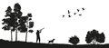 Black silhouette of a hunter with a dog in the forest. Duck hunting. Landscape of wild nature