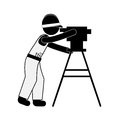 Black silhouette land surveyor with equipment topography