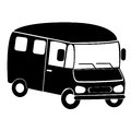 Black silhouette of minibus Royalty Free Stock Photo