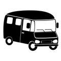 Black silhouette of minibus Royalty Free Stock Photo