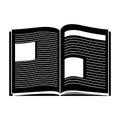 Black Silhouette Open Book Wit...