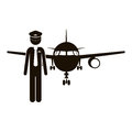 Black silhouette pilot with aeroplane Royalty Free Stock Photo