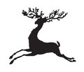 Black silhouette running deer vector