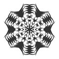 Black silhouette of a snowflake. Lace, round ornament and decor. Illustration