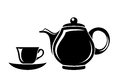 Black silhouette of teapot and cup porcelain with saucer on a white background Royalty Free Stock Image