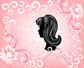 Black silhouette womans face pink background flower drops Royalty Free Stock Photography