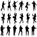 Black silhouettes of beautiful mans and womans drummer violini violinist acrobat on white background vector illustration Stock Photo