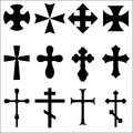 Black silhouettes of crosses catholic christian celtic pagan illustrations different geometric forms orthodox symbols Royalty Free Stock Photography