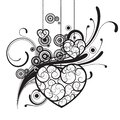 Black silhouettes with ornamental hearts and decorative elements isolated on white Royalty Free Stock Photo