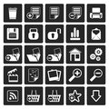 Black 25 Simple Realistic Detailed Internet Icons Royalty Free Stock Photo