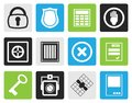 Black Simple Security and Business icons Royalty Free Stock Photo