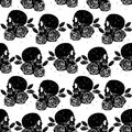 Black skull and rose seamless isolated pattern Royalty Free Stock Photo