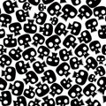 Black skulls seamless pattern. Royalty Free Stock Images