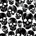 Black skulls seamless pattern. Royalty Free Stock Photo