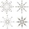 Black snowflakes on a white background