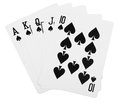 Black spade royal straight flush poker card Royalty Free Stock Images