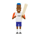 Black sportsman baseball player illustration of on white background Royalty Free Stock Image